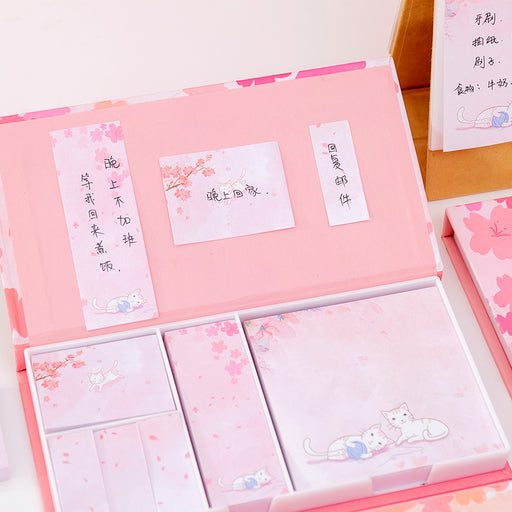 Kawaii Korean Japanese Cherry Blossom Cat Multi-Functional Memo Sticky Note