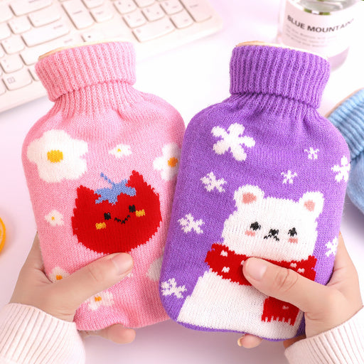 Kawaii Japan and South Korea cartoon rubber water injection hot bag explosion-proof removable plush cover hand warmer