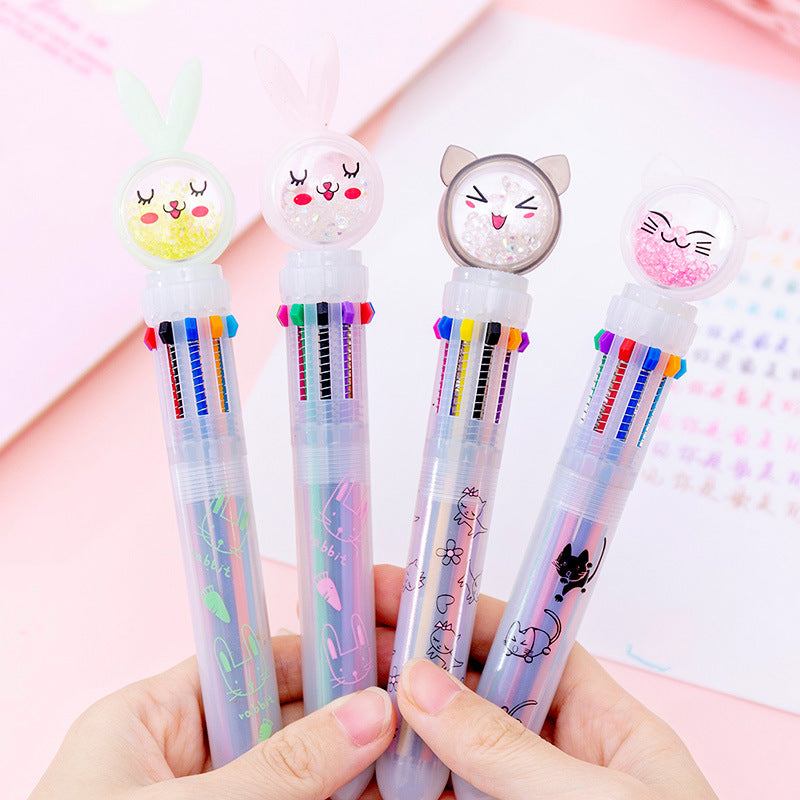 Kawaii Korean Japanese Girly Cute Bunny Rabbit Carrot Multifunctional Colorful Pushable Ball Pen