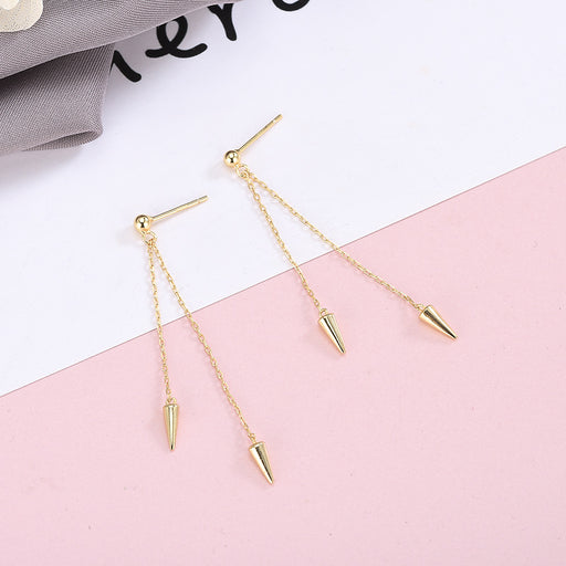 Kawaii  Japanese  Korean S925 Sterling Silver Tapered Stud Earrings Long Tassel Earrings