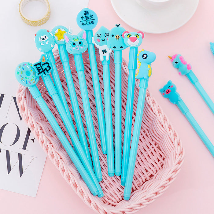 Korean ins girl heart cartoon combination set blue gel pen cute creative student with pen pen