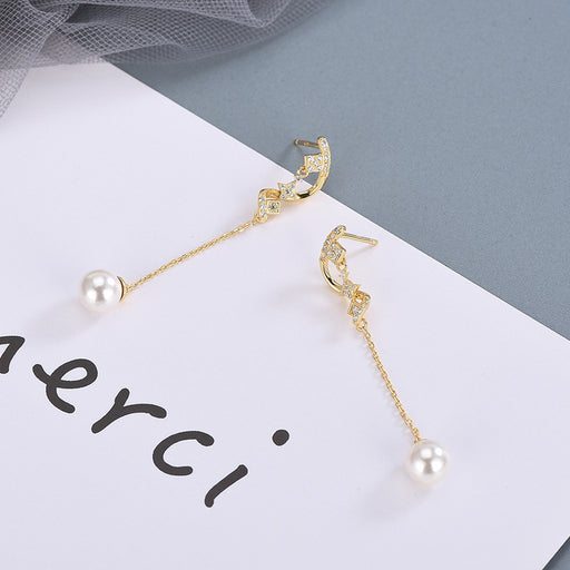 Kawaii  Japanese  Korean S925 Sterling Silver S-shaped Diamond Pearl Stud Earrings Moon Tassel Earrings