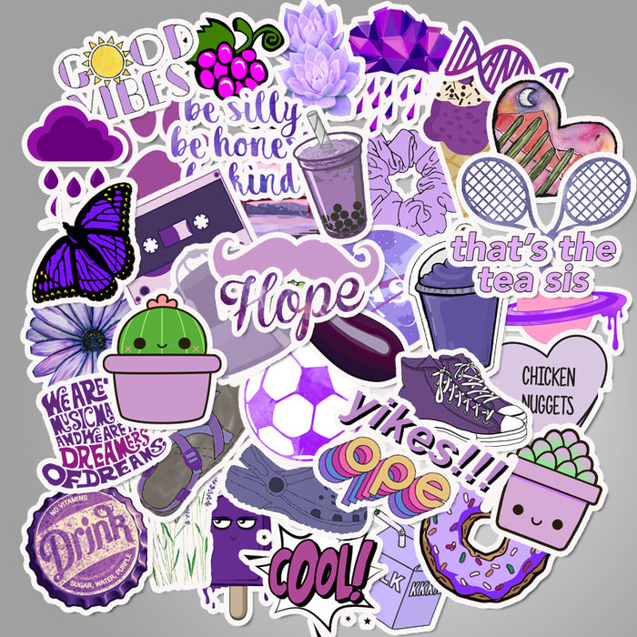 cartoon small fresh purple  explosion-proof non-infringing suitcase stickers waterproof graffiti guitar stickers