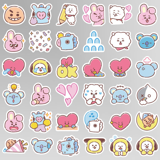 Kawaii Japanese Korean BT21 Cartoon Emoji Sticker Luggage Trolley Laptop Sticker