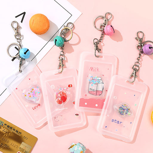 Kawaii  Japanese  Korean Bus access control bell key ring campus meal card set