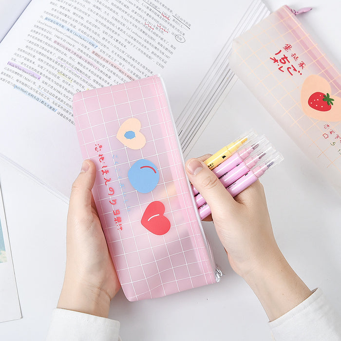 Kawaii  Japanese  Korean Girl heart pencil case/small fresh portable zipper large capacity stationery pencil case