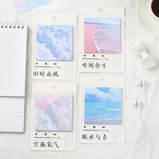 Kawaii  Japanese  Korean Small fresh landscape note book note N times stickers / sea sky stickers