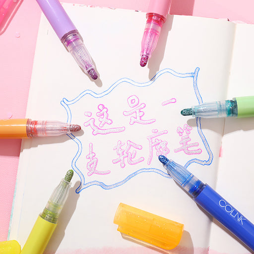 Kawaii  Japanese  Korean  Push-type contour pen/fluorescent art graffiti painting highlighter