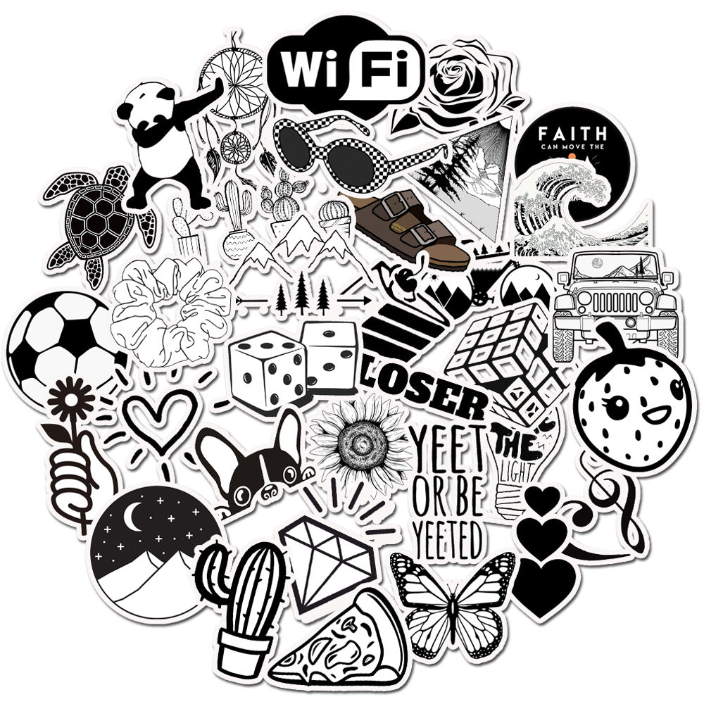 black and white VSCO style infringing suitcase stickers super waterproof graffiti suitcase stickers