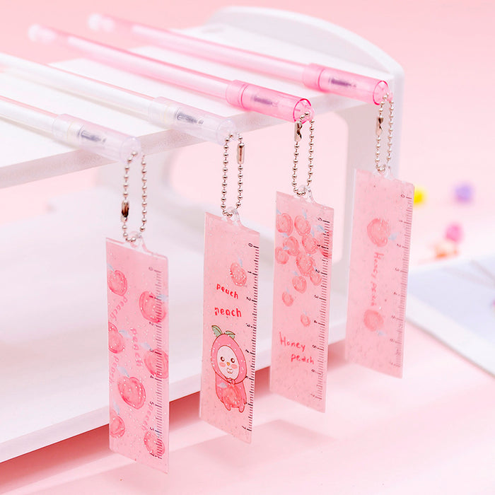 Ins Girl Heart Peach Ruler Pendant Gel Pen Small Fresh Cute Little Fairy Pen Pen Student Pen