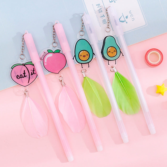 Korea creative avocado feather pen gel pen small fresh cute pen pen student pen pen