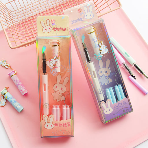 Kawaii Japanese-style Korean replaceable ink bag pen blue pen set