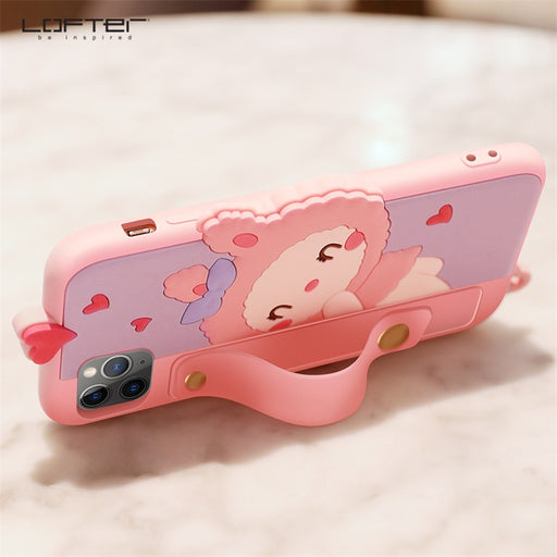 Kawaii  Japanese  Korean - LOFTER iphone11Pro cartoon bracket xs anti-drop silicone sleeve