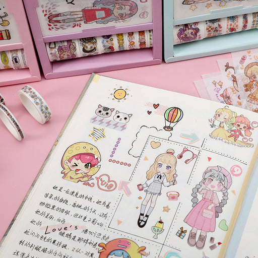 Kawaii  Japanese  and Korean   DIY diary hand account small stickers small stickers decorative childlike stickers tape set combination