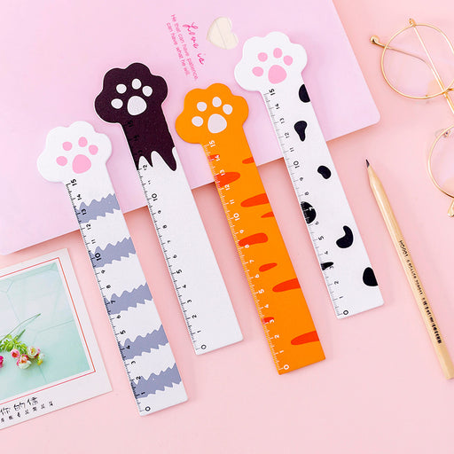 Kawaii  Japanese  Korean Ins Girl Heart Cat Paw Wooden Ruler Cartoon Drawing Hand Accounting Ruler