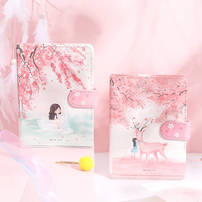 Kawaii Japanese Korean quicksand peach blossom girl heart notebook