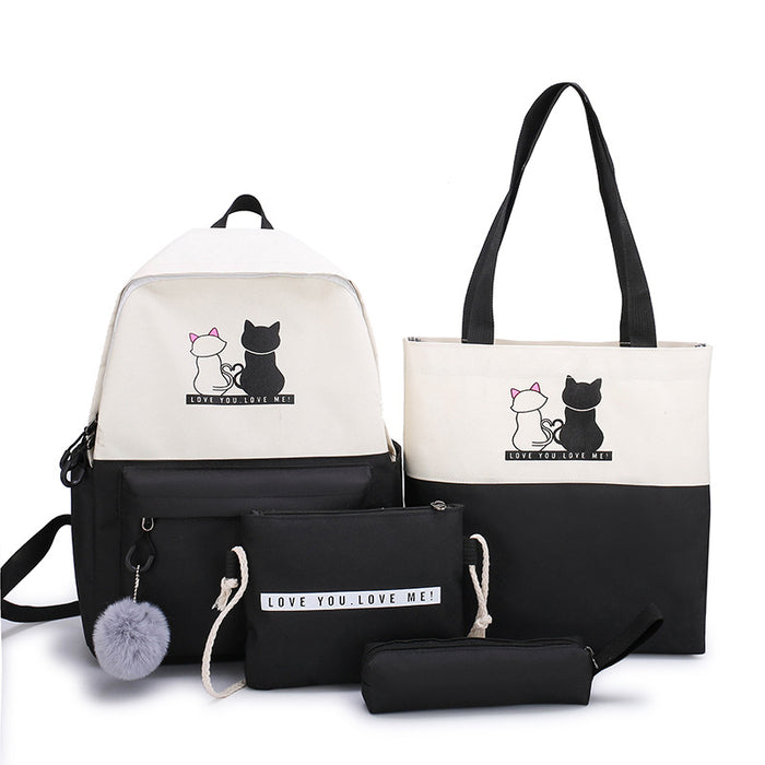 Kawaii  Japanese  Korean Cat simple ins style multi-piece schoolbag backpack