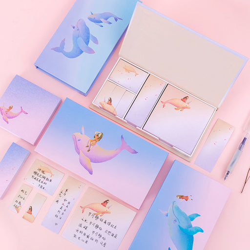 Kawaii Korean Japanese Girl Heart Combination Set Sticky Note Multi-Purpose Whale Boxed Memo Sticky Note