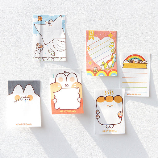 Kawaii Korean Japanese Cat Animal Heart Starring Rainbow Cute Leave Notes Sticky Notes Set