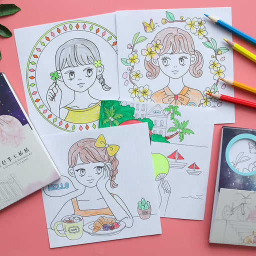 Kawaii Japanese Korean  origami princess girl Coloring book material set