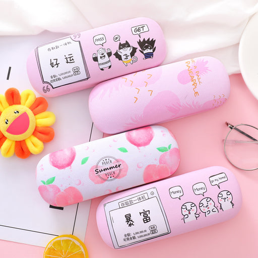 Cute Japanese and Korean cartoon fruit compression PU myopia sunglasses storage box