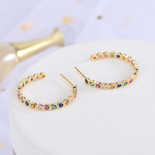 Kawaii  Japanese  Korean  -Color C Earrings with Diamonds in Sterling Silver