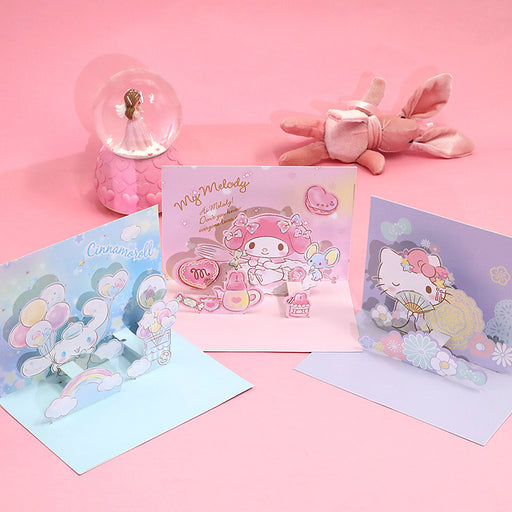 Kawaii Japanese Korean -Cartoon Three-Dimensional Greeting Card Gift Blessing Card