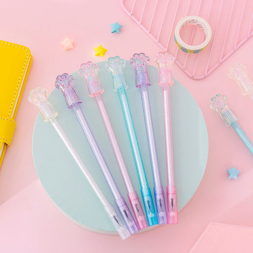 Kawaii  Japanese  Korean  ins girl heart transparent crystal cat claw gel pen