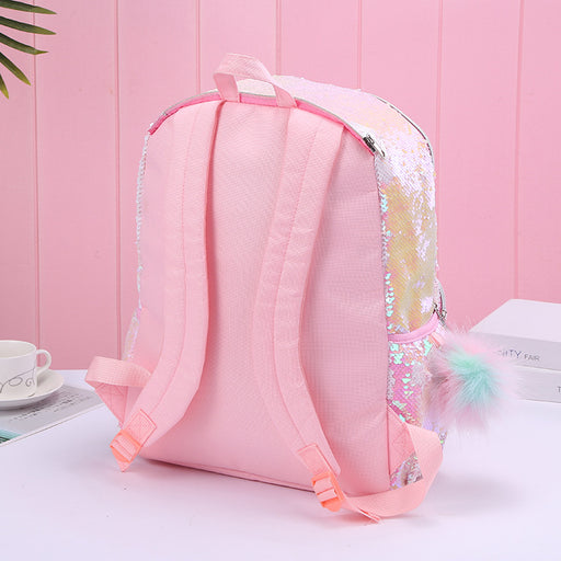 Kawaii  Japanese  Korean Hooded unicorn sequins outdoor travel backpack