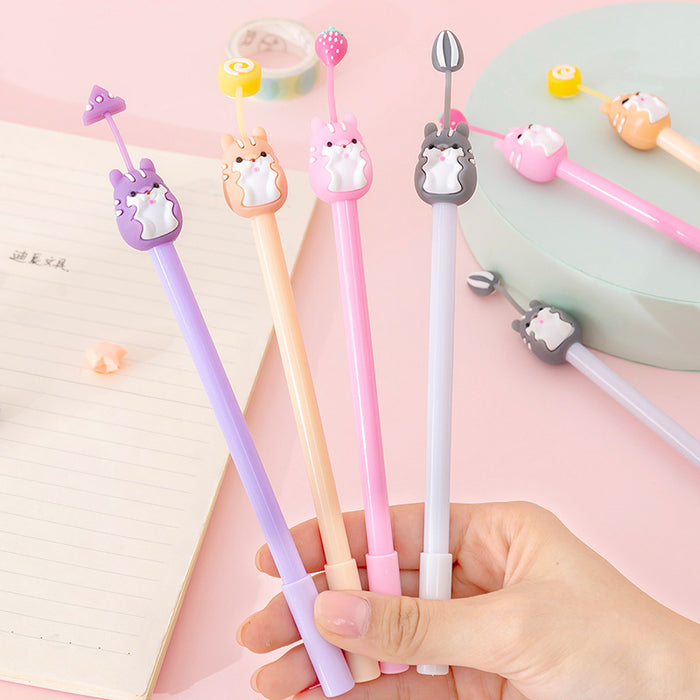 Korean creative cartoon soft cute hamster silicone gel pen cute student exam writing pen office signature pen
