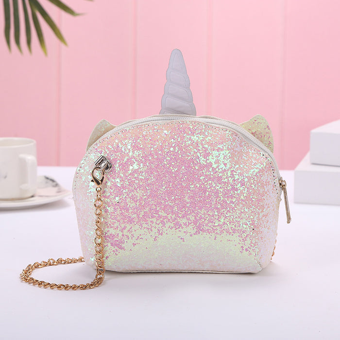 Kawaii  Japanese  Korean  Unicorn sequin pink crossbody bag