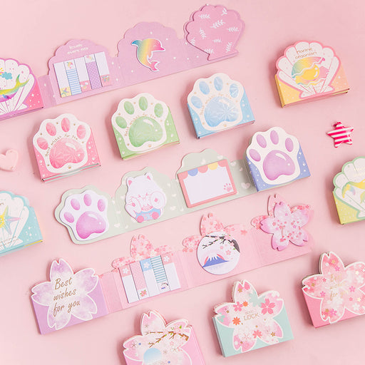 Kawaii Japanese Korean Cat's Claw/Sakura/Shell Memo Sticky Notes