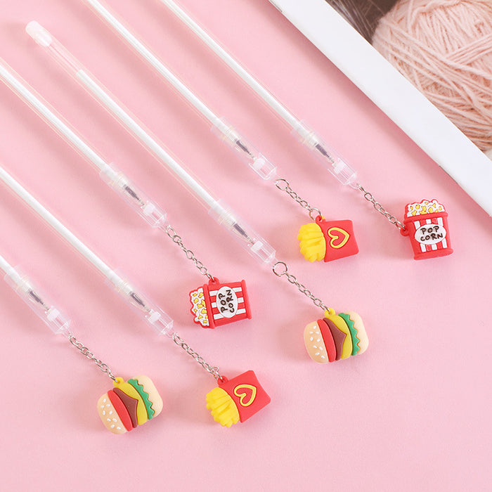 Korean creative burger pendant gel pen small fresh cute pen pen student exam writing signature pen