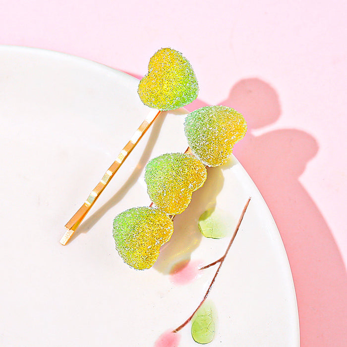 Kawaii  Japanese  Korean  Girl Heart Jelly Gummy Hairpin Rainbow Love Star Hairpin Word Clip Side Clip