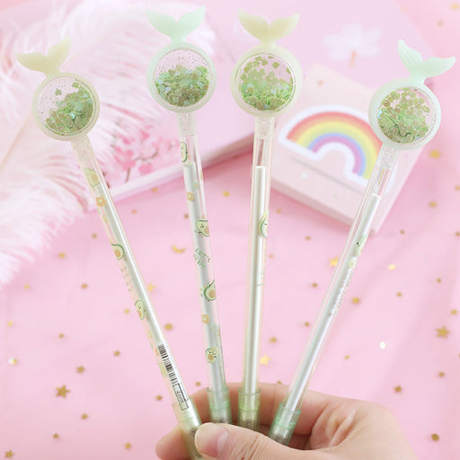 Korean ins girl heart fishtail sequin gel pen avocado signature pen cute student exam writing pen