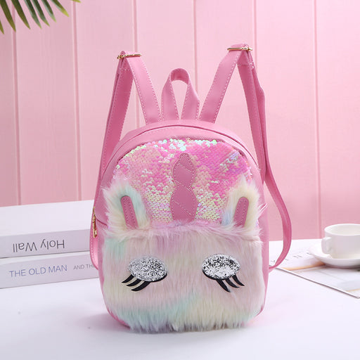 Kawaii  Japanese  Korean  Mermaid sequin unicorn cute cartoon plush backpack