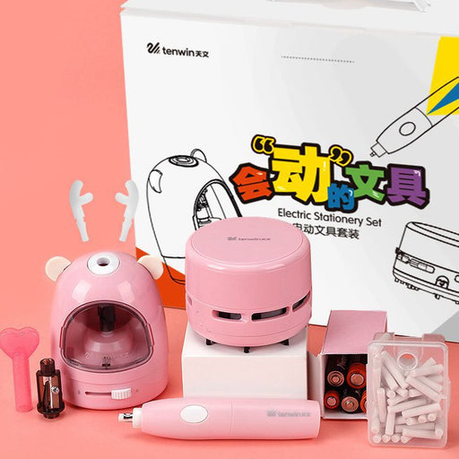 Kawaii  Japanese  Korean Desktop Vacuum Cleaner Eraser Pencil Sharpener Set Gift Box