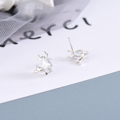 Kawaii  Japanese  Korean S925 sterling silver diamond deer earrings forest cute animal christmas gift earrings