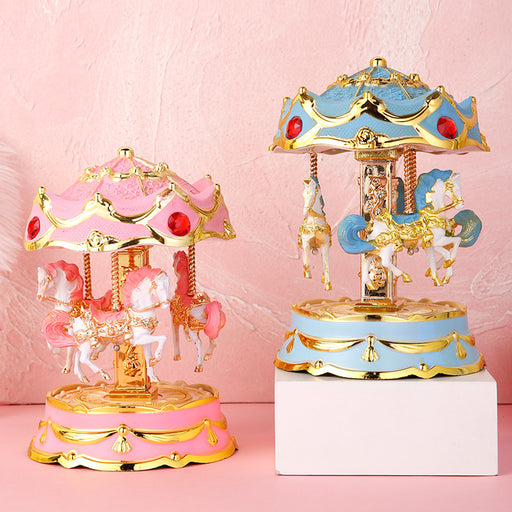 Kawaii  Japanese  Korean  Colorful Flash Carousel Music Box