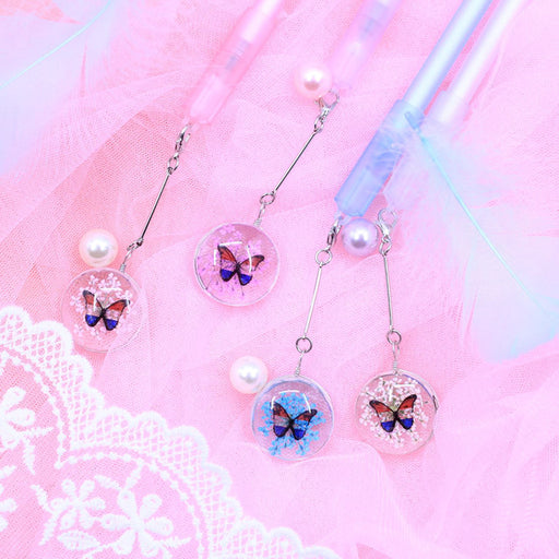 Kawaii  Japanese  Korean -Butterfly Glass Pendant Gel Pen