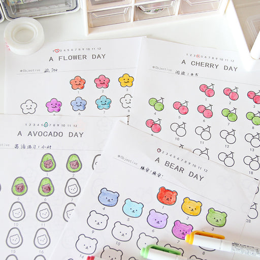 Monthly Planners With Stickers - Kawaii Cute Korean Japanese Design