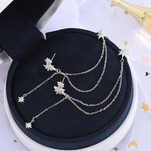 Kawaii  Japanese  Korean  -S925 silver diamond tasseled tassel star conjoined double earrings ear clip