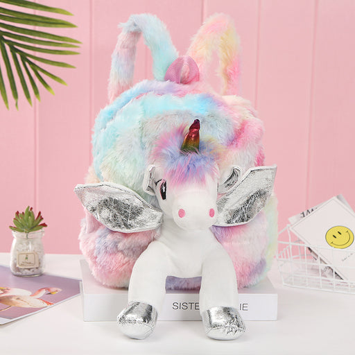 Kawaii  Japanese  Korean  Unicorn plush backpack girl travel and leisure backpack