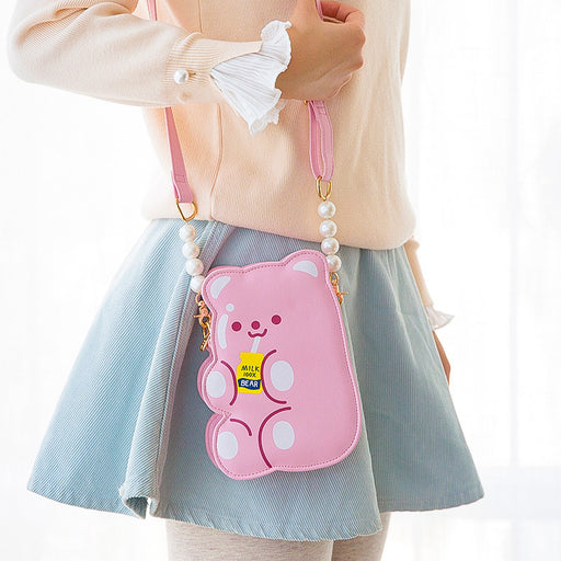 Bear cross bag soft sister students bear modeling pearl phone bag cute cartoon shoulder bag