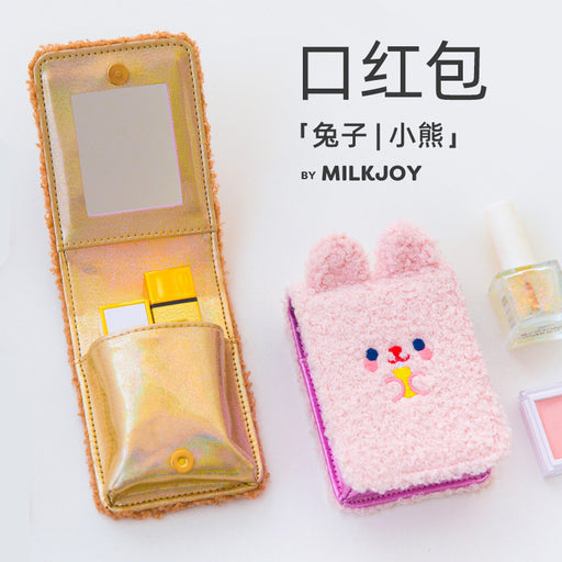 Boh boh mouth red envelope portable bear plush lipstick box instagram makeup bag with makeup mirror
