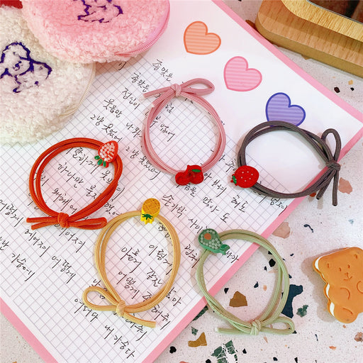 Kawaii  Japanese  Korean  Girly Heart Fruit Knotted Hair Tie Macaron Rubber Band