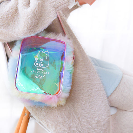Gummy bear laser oblique straddle bag soft girls students transparent shoulder bag rainbow plush bag