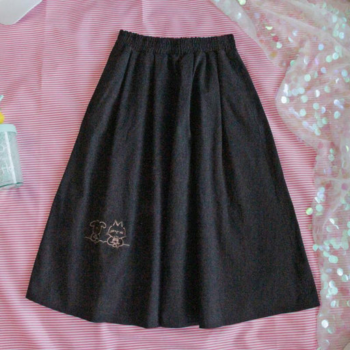 Japanese college style cute black and white skirt