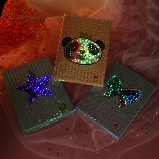 Kawaii Japanese Korean  A5 Sequins notebook led light glow notepad planners notebooks