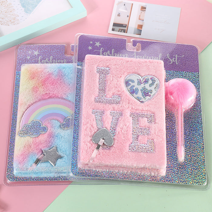 Kawaii Japanese Korean  A5 cute notebooks cartoon notebook set plush magic rainbow notepad